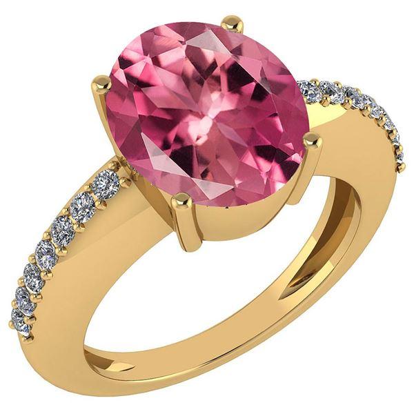 Certified 5.30 Ctw Pink Tourmaline And Diamond VS/SI1 R