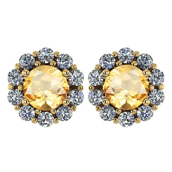 Certified 2.30 Ctw Citrine And Diamond 14k Yellow Gold