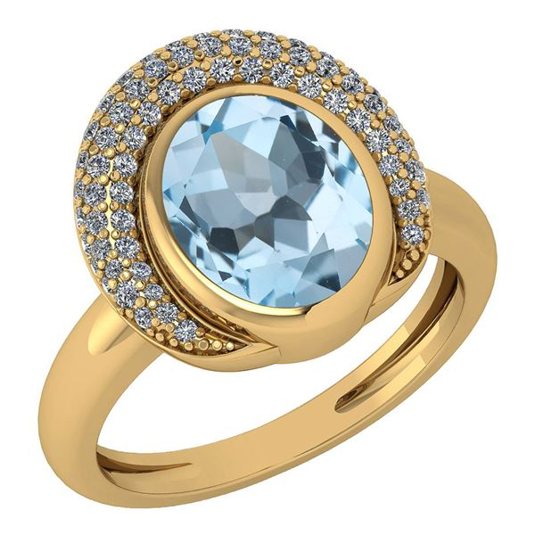 Certified 2.82 Ctw Blue Topaz And Diamond VS/SI1 Halo R