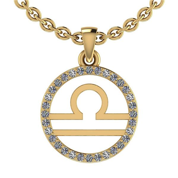 Certified 0.14 Ctw SI2/I1 Diamond 14K Yellow Gold Zodia