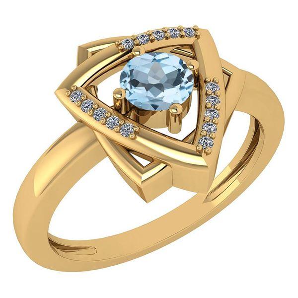 Certified 0.29 Ctw Blue Topaz And White Diamond VS/SI1