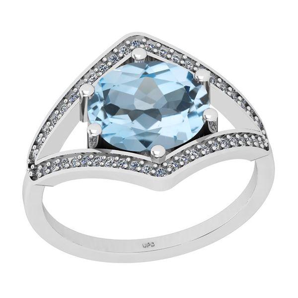 Certified 2.33 Ctw I2/I3 Blue Topaz And Diamond 14K Whi