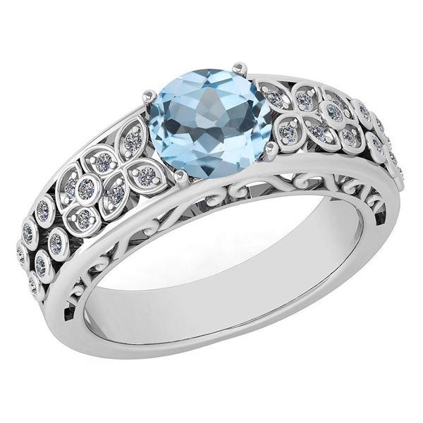 Certified 1.42 Ctw Aquamrine And Diamond Wedding/Engage