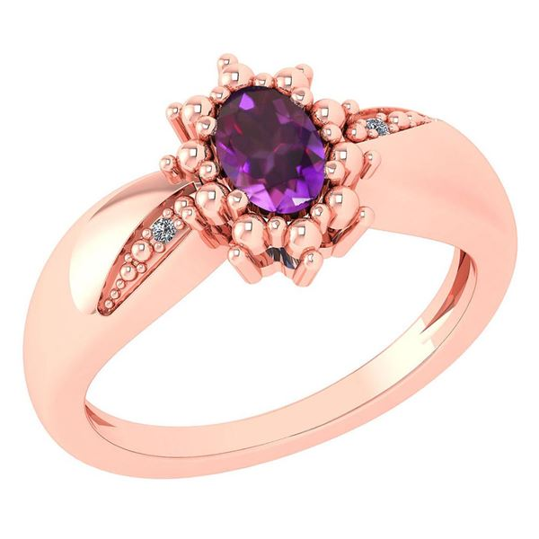 Certified 0.51 Ctw Amethyst And Diamond 14k Rose Gold H
