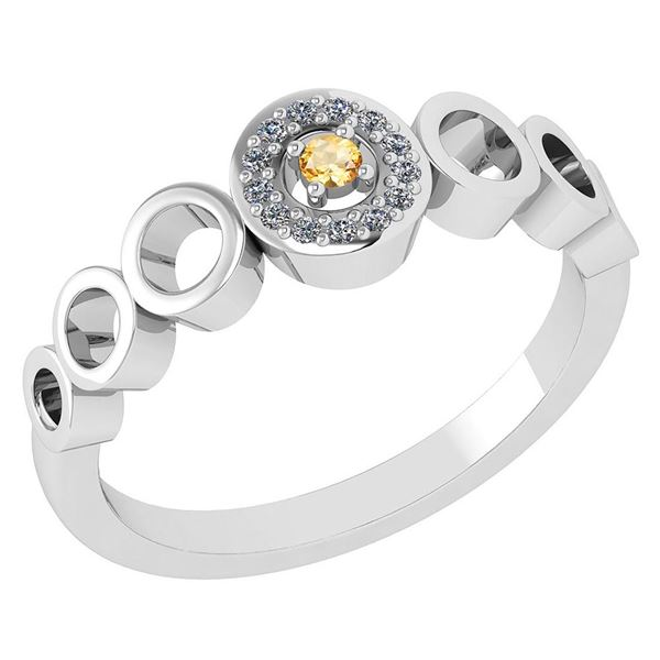 Certified 0.09 Ctw Citrine And Diamond 14k White Gold H