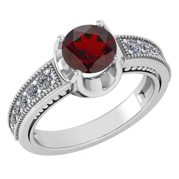 Certified 1.48 Ctw Garnet And Diamond Wedding/Engagemen