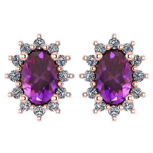Certified 1.24 Ctw Amethyst And Diamond 14k Rose Gold H