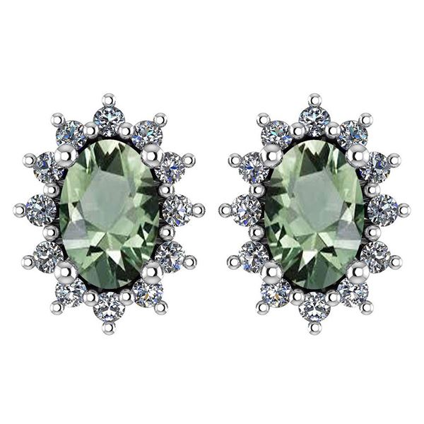 Certified 1.24 Ctw Green Amethyst And Diamond 14k White