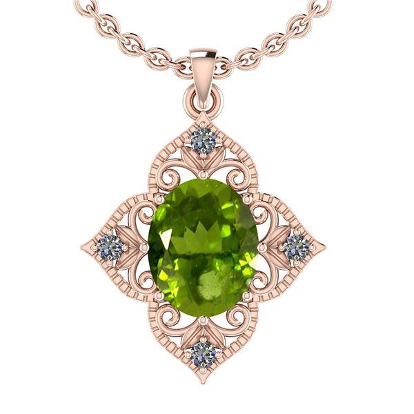 Certified 3.75 Ctw I2/I3 Peridot And Diamond 10K Rose G