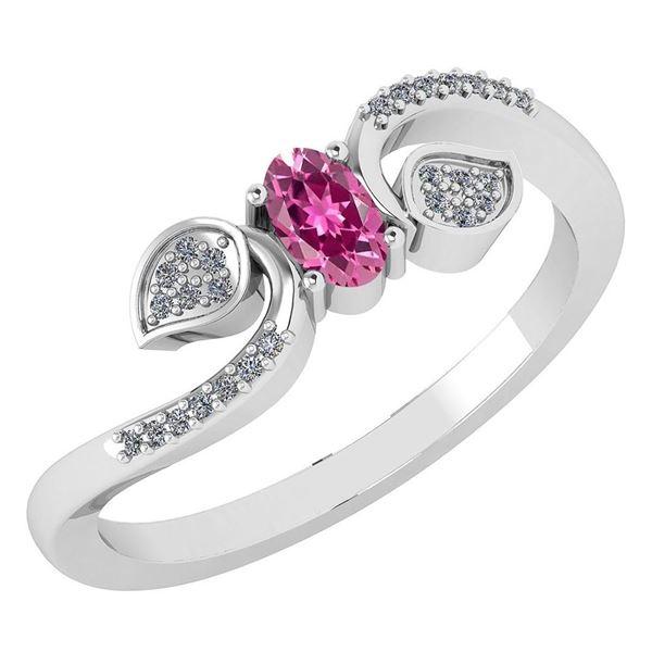 Certified 0.28 CTW Pink Tourmaline And Diamond 14k Whit
