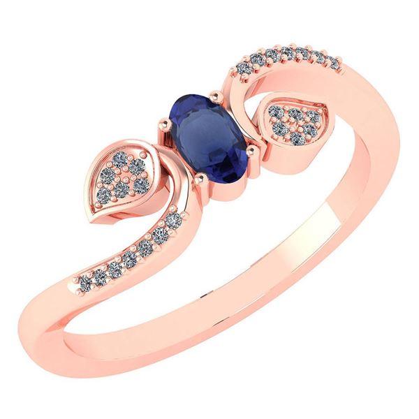 Certified 0.28 CTW Blue Sapphire And Diamond 14k Rose G