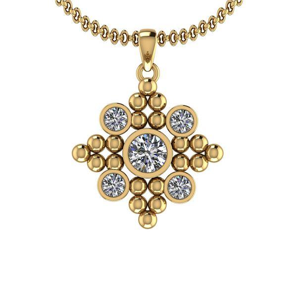 Certified 0.90 Ctw Diamond I1/I2 10k Yellow Gold Pendan