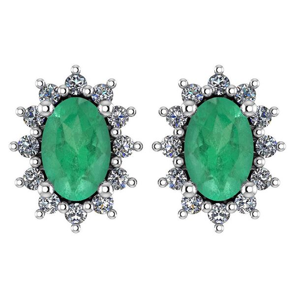 Certified 1.24 Ctw Emerald And Diamond 14k White Gold H