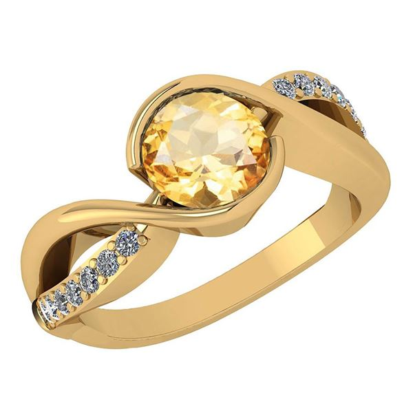Certified 1.44 Ctw Citrine And Diamond 14k Yellow Gold