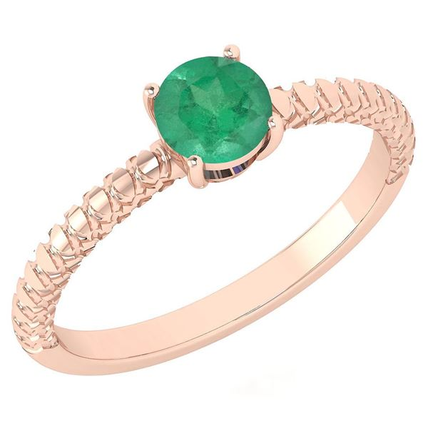 Certified 0.45 Ctw Emerald Solitaire Ring with Filigree