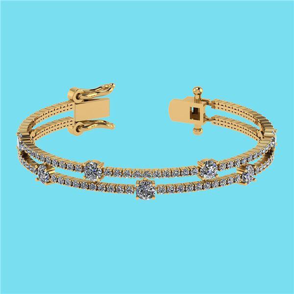 Certified 3.32 Ctw SI2/I1 Diamond 14K Yellow Gold Brace
