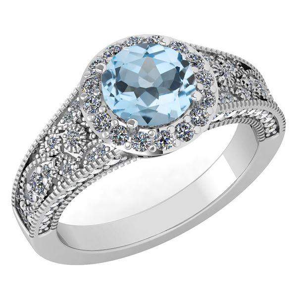 Certified 1.84 Ctw Blue Topaz And White Diamond VS/SI1