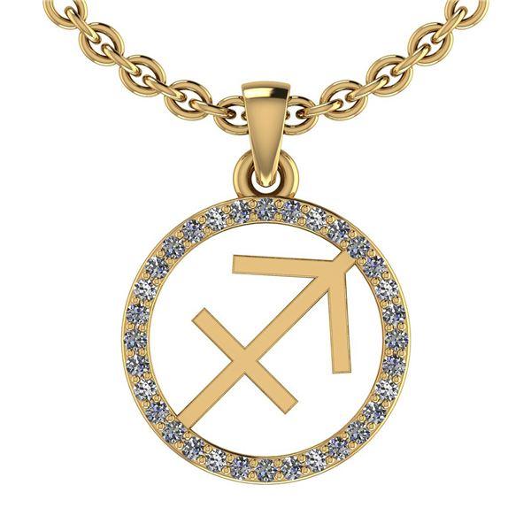 Certified 0.19 Ctw SI2/I1 Diamond 14K Yellow Gold Zodia