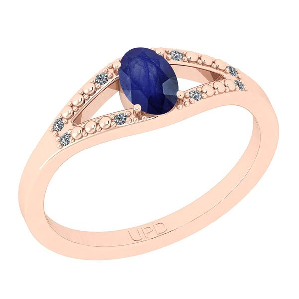 Certified 0.42 Ctw I2/I3 Blue Sapphire And Diamond 14K