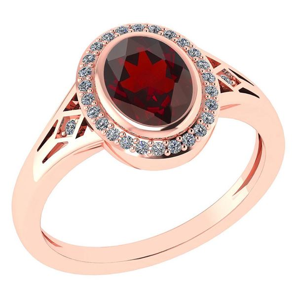 Certified 1.39 Ctw Garnet And Diamond 14k Rose Gold Hal