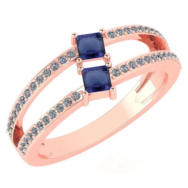 Certified 0.60 Ctw Blue Sapphire And Diamond 18k Rose G