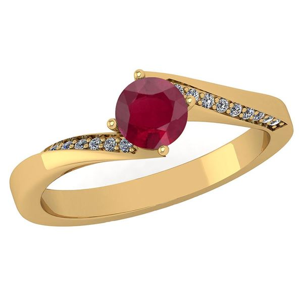 Certified 1.09 Ctw Ruby And Diamond 14K Yellow Gold Hal