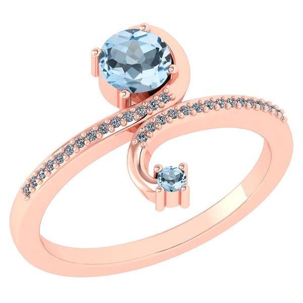 Certified 0.85 Ctw Aquamarine And Diamond 14k Rose Gold