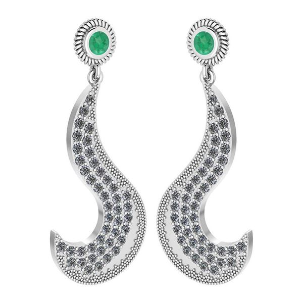 Certified 1.51 Ctw Emerald And Diamond VS/SI1 Styles Ea