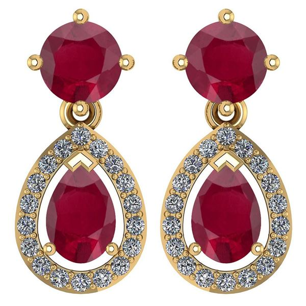 Certified 2.19 CTW Ruby And Diamond 14k Yellow Gold Hal