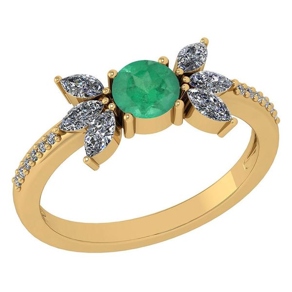 Certified 1.11 Ctw Emerald And Diamond 14k Yellow Gold