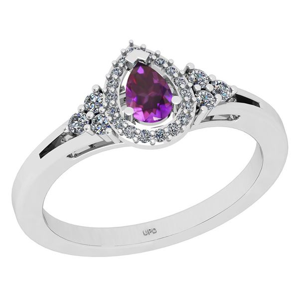 Certified 1.27 Ctw I2/I3 Amethyst And Diamond 10K White
