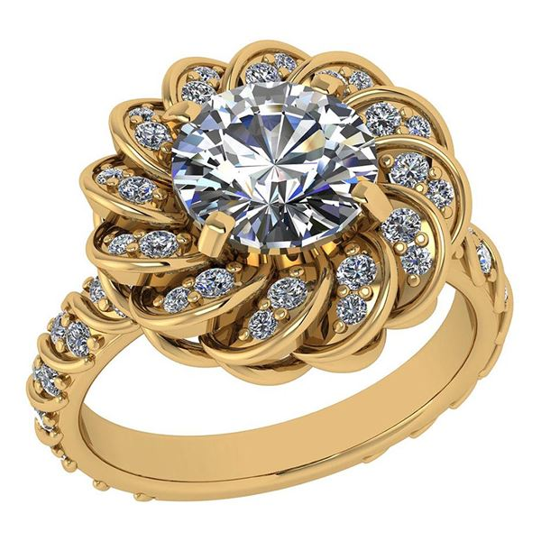 Certified 1.63 Ctw Diamond Wedding/Engagement 14K Yello