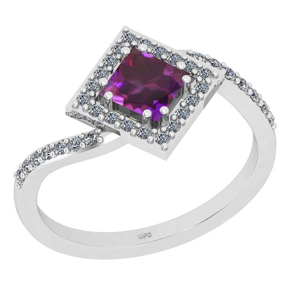 Certified 1.02 Ctw I2/I3 Amethyst And Diamond 10K White
