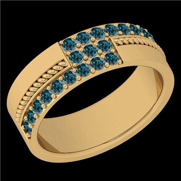 Certified 0.52 Ctw I2/I3 Treated Fancy Blue Diamond 14K