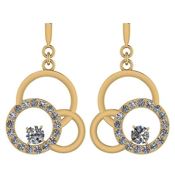 Certified 0.34 Ctw Diamond VS/SI1 Earrings 18K Yellow G