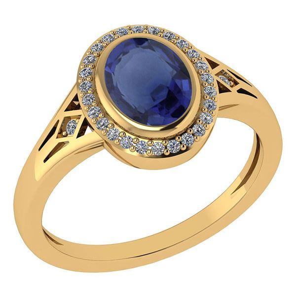 Certified 1.39 Ctw Blue Sapphire And Diamond 14k Yellow