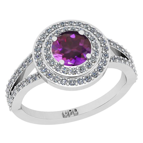 Certified 1.14 Ctw I2/I3 Amethyst And Diamond 10K White