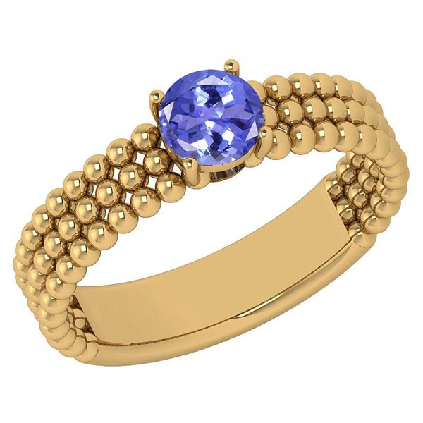 Certified 0.50 Ctw Tanzanite Solitaire 14K Yellow Gold