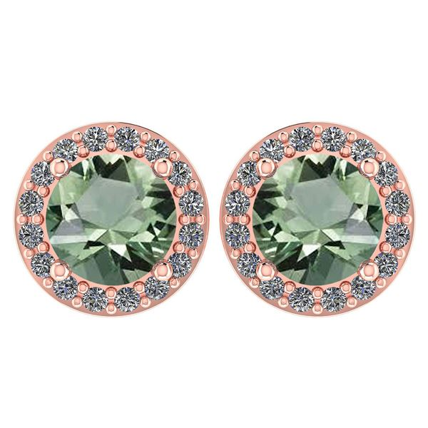 Certified 1.6 Ctw Green Amethyst And Diamond 14k Rose G