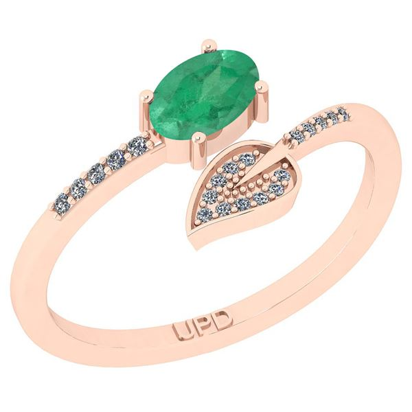 Certified 0.58 Ctw SI2/I1 Emerald And Diamond 14K Rose