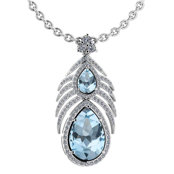 Certified 7.50 Ctw Blue Topaz And Diamond Pear shape Fo