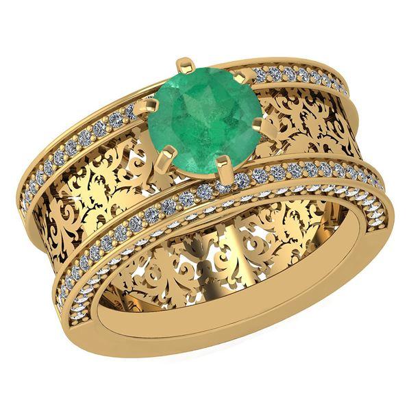 Certified 1.81 Ctw Emerald And Diamond Wedding/Engageme