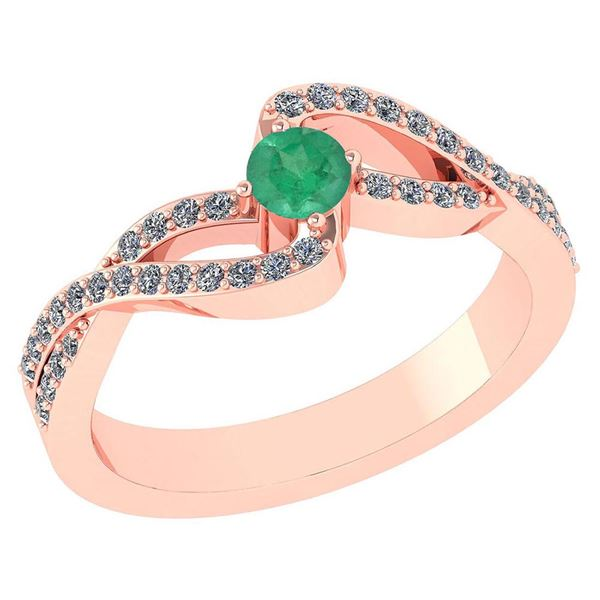 Certified 0.61 Ctw Emerald And Diamond 18K Rose Gold Ha