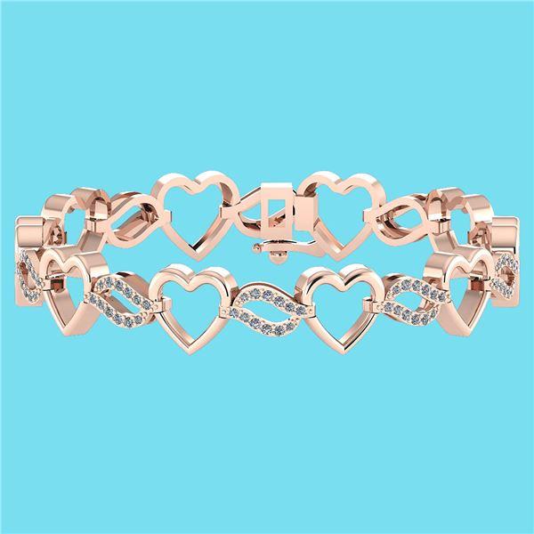 Certified 0.55 Ctw SI1/I2 Diamond 18K Rose Gold Bracele