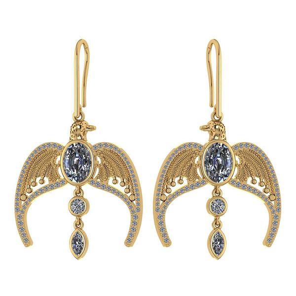 Certified 3.46 Ctw Diamond Eagle Earrings For womens Ne
