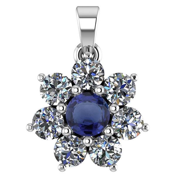 Certified 0.93 Ctw Blue Sapphire And Diamond Platinum H