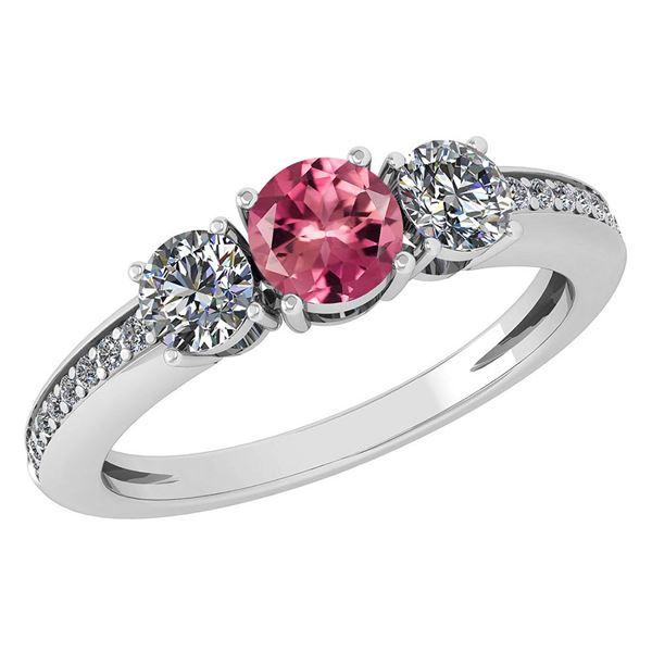 Certified 1.06 Ctw Pink Tourmaline And Diamond Wedding/