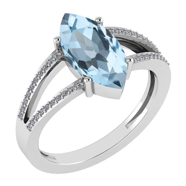Certified 2.20 Ctw Blue Topaz And Diamond VS/SI1 Ring 1