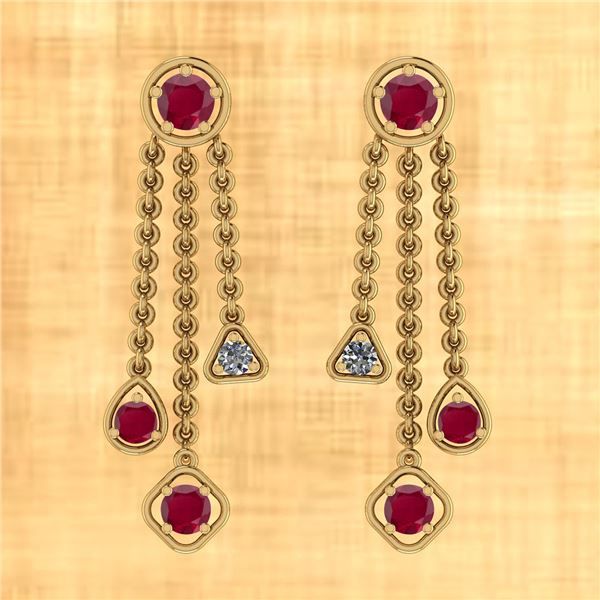 Certified 2.50 Ctw Ruby And Diamond VS/SI1 18k Yellow G