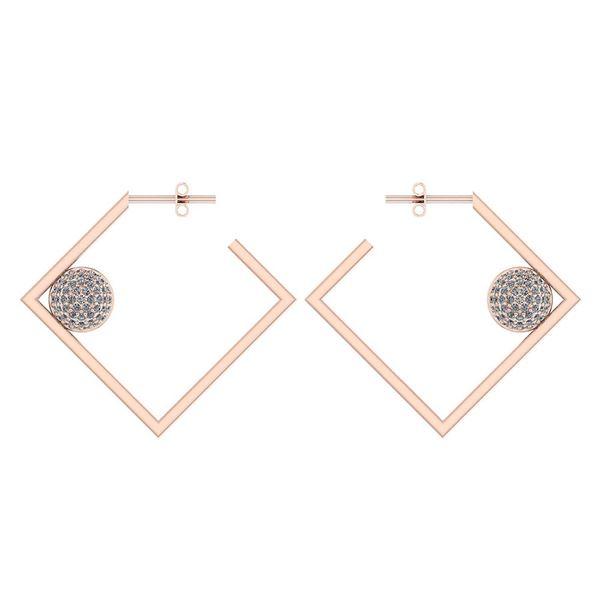 Certified 0.63 Ctw Diamond 14K Rose Gold Earrings